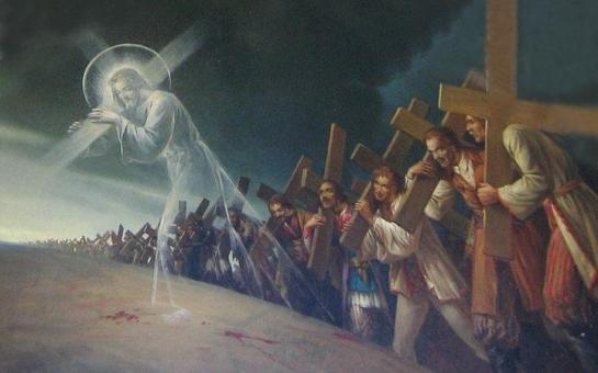 Jesus and world people carrying their crosses